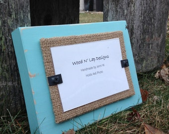 Thick Distressed Wood Picture Frame, Shallow Water Blue/Green with Burlap, Rustic, 4 x 6 Frame