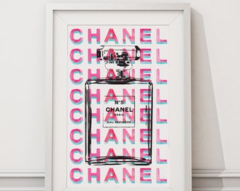 Chanel print A4 in Pink and Teal, water color 8.5 X 11 inches instant digital download
