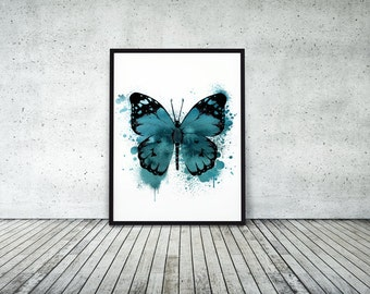 Butterfly, teal, ink, watercolor, A4, 8.5x11, teal, watercolour, butterfly print, butterfly wall art, butterfly art, art, painted butterfly