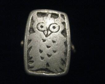 Vintage Pewter Sterling Owl Ring 7.25 Adjustable Folk Woodland Cottage Chic Retro