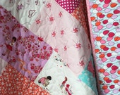 Baby Quilt Girl-Modern Baby Quilt-Classic Nursery-Homemade Baby Quilt-Pink Lilac Aqua-Sarah Jane Toddler Quilt-Children At Play Quilt