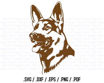 German Shepard Dog Clipart, Veterinary Office Art, Animal SVG File for Vinyl Cutter, Screen Printing, Silhouette, Die Cut Machine - CA110