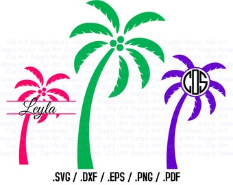 Palm Tree Clip Art, SVG Monogram Clipart, SVG Tropical Art, DXF File for Vinyl Cutter, Screen Printing, Silhouette Die Cut Machine - CA161