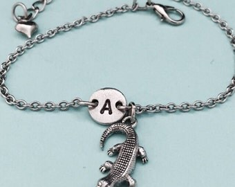 Alligator charm bracelet, alligator charm, adjustable bracelet, personalized bracelet, initial bracelet, monogram