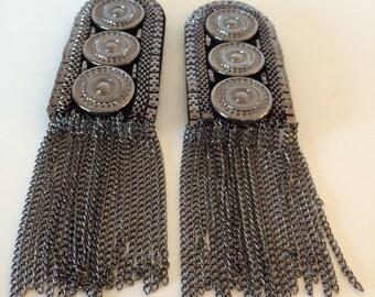 Steampunk shoulder epaulets in silver color