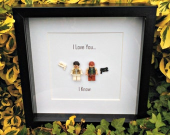 Han and Leia, Framed Minifigures, Star Wars, Couples Gift, Romantic Geekery, I Love You I Know, Valentines Gift, Anniversary Idea, Nerdy
