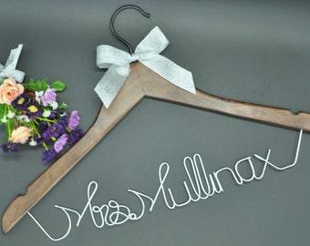 Personalized Custom Bridal Hanger,Single Line Wire Name Hanger,Bridal Hanger,Bridesmaids Name Hanger, Bridal Gift,Rustic Wedding