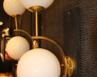 Pair of Italian Modern Mid Century Style Brass And White Glass Sconces