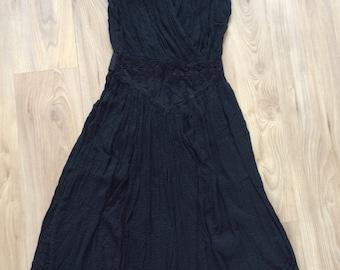 Vintage 70s Black Gauze Dress S/M