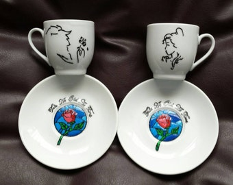 Hand painted espresso cups inspired by Disney