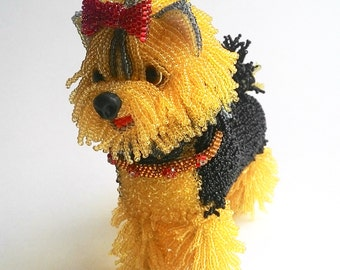 """Pattern / Tutorial Beaded Ornament -Master class to create """" Yorkshire Terrier Beaded Lala"""""""