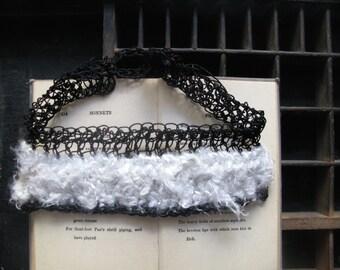 Choker necklace, crochet choker, silk yarn, yarn jewellery, paper necklace, silk crochet, black choker, white necklace