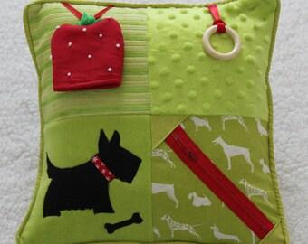 Fidget Cushion ~ Sensory Activity Pillow ~ Dementia Twiddle Cushion ~ Alzheimer's ~ Stroke ~ Dementia ~ 'Scottie Dogs and Strawberries' ~