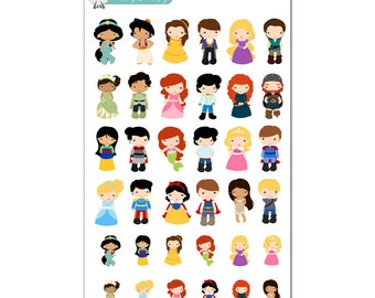 Disney Princess and Prince Stickers - Disney Planner Stickers