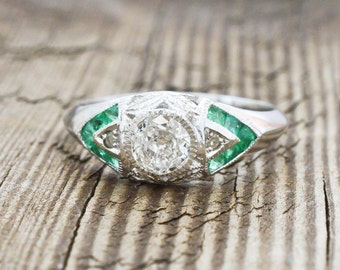 Art Deco ring, engagement ring, European cut diamond ring, platinum ring, french cut emerald, statement jewelry, unique engagement, 1