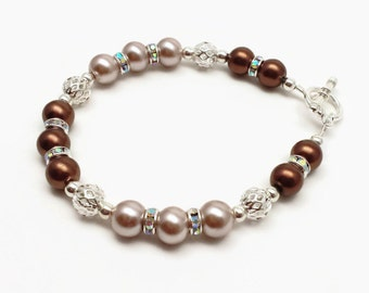 Sparkling Bridal Pearl Bracelet. Marron and Smoke Brown Pearl Rhinestone Bracelet, Maid of Honor, Wedding Jewelry, Bridesmaide Gifts