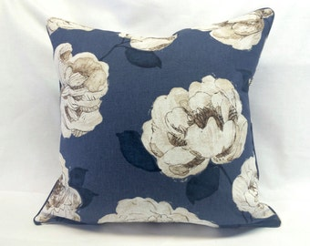 SALE Midnight Flowers Pillow Cover - Floral Print - Ivory & Blue - 20 Inch- Decorative Throw Pillow - Ready to Ship