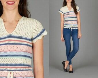 Vintage 70s Pointelle Knit Top