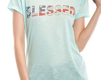 Women's  American Flag Inside Blessed Print Graphic  Tee with short sleeves and round neck - Small-XL  (pt-027-tp)
