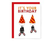 Party bat birthday card - cute bat - nerdy greeting card - funny card - friendship card - animal pun - stationery - red - party hat