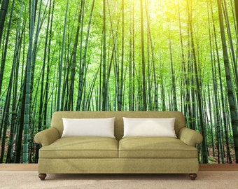 Bamboo wall decal etsy for Bamboo wall mural wallpaper