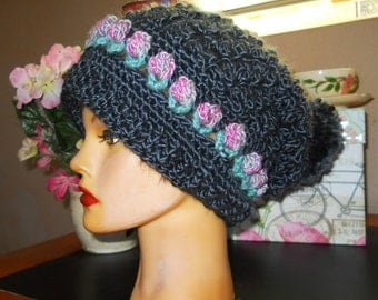 Hand crocheted, slouchy HAT w/pom