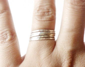 Hammered Silver Stacking Rings