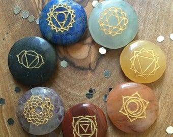 Item 42, 7 Chakra Stone Set, Miniature, Chakra Stones, Travel Chakra Stone Set, Reiki Stones, Reiki Stone Set, Chakras