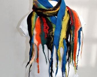 Silk scarf  / Nuno felting scarf / Handmade felted scarf / Merino wool / Wool Scarf/ Free shipping.