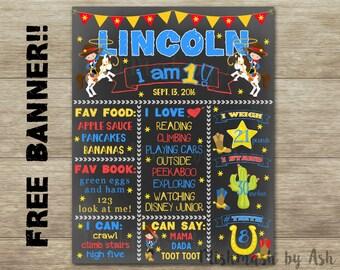 Cowboy Birthday Chalkboard, Cowboy 1st Birthday, Cowboy Decor, Cowboy Birthday Sign, Cowboy Birthday Banner, Western Birthday Decor