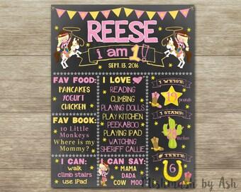 Cowgirl Birthday Chalkboard, Cowgirl 1st Birthday, Cowgirl Decor, Cowgirl Birthday Sign, Western 1st Birthday, Western Birthday Decor