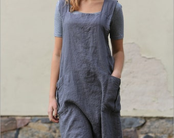 Linen apron / linen apron dress / linen work dress / linen tunic / cross back apron / linen top / linen coverup / linen tunic dress