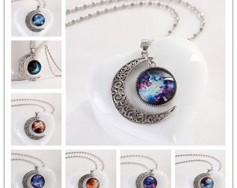Moon and Planets and Necklace set with chain Beautiful Boho Bohemian galaxy