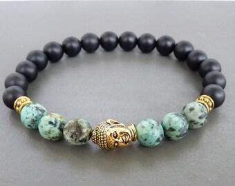 Turquoise Bracelet, Yoga Jewelry, Buddha Bracelet, Healing Bracelet, Stretch bracelet, Natural Turquoise Bracelet, Buddhist Mala Bracelet