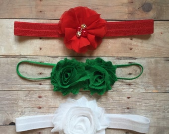 Christmas Baby Headband set, Red Green White Headbands, Baby Shabby Chic headbands, Baby headbands, Holiday Headband set, Baby Shower gift