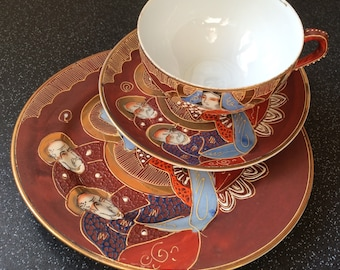 Japanese Dragonware,  Hand Painted,  Lithophane Geisha  Trio of Cup, Saucer and Side Plate - Made in Japan.