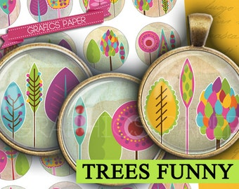 """Trees Images 1.5"""", 1.25"""", 30mm, 1 inch - Digital Collage Sheet printable circle for Jewelry Making, Bottle Caps, Image Pendant, Cameo td349"""