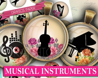 """Musical Instruments Music - digital collage sheet - td170 - 1.5"""", 1.25"""", 30mm, 1 inch - Cabochon jewelry Oldtimers Instant Download magnets"""