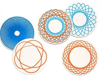 Letterpress Coaster Set | Spirograph | Set of 10