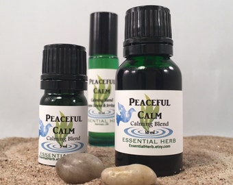 PEACEFUL CALM Essential Oil Blend, Peace Calming, Tranquility, Serenity, Relax Unwind from Tension Stress, Therapeutic Pure