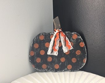 Orange and black polka dot pumpkin
