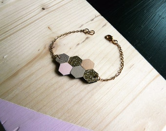 Bracelet Hava leather and fabric glitter hexagon shaped, 14 k gold, beige, gold, pink