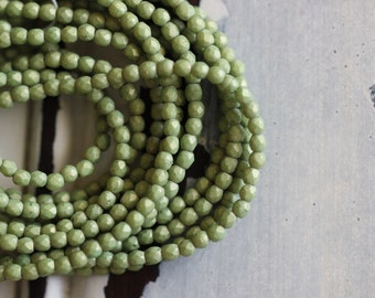 Czech Glass Beads, 2mm, Faceted, Round, Avocado, Green, Faceted, Beads, 50 pieces
