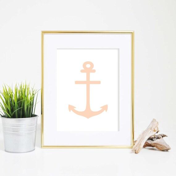 Nautical Print, Anchor Wall Art, Anchor Printable, Wall Decor, Printable Artwork, Anchor Prints, Coastal Ar Print Digital Print, Peach Decor