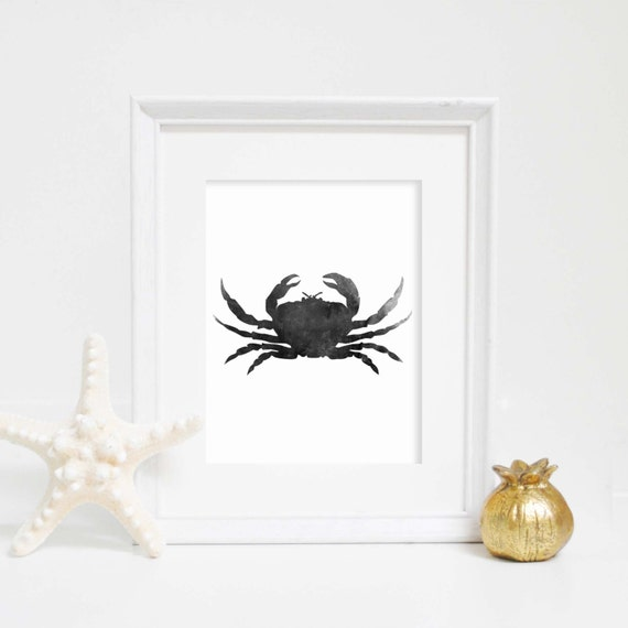Watercolor Nautical Wall Prints, Crab Print, Art Printables, Crab Wall Art, Black & White, Bathroom Decor, Ocean Printable, Ocean Prints