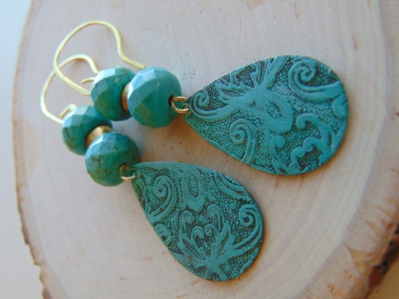 Vedigris Brass And Turquoise Earrings