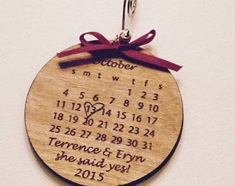 Rustic She Said Yes Engagement Ornament Wood Personalized Laser Engraved