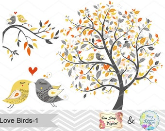 Instant Download Tree Birds ClipArt, Yellow Grey Tree Clip Art, Valentines Clipart, Grey and Yellow Love Birds, Wedding Invitation 00087