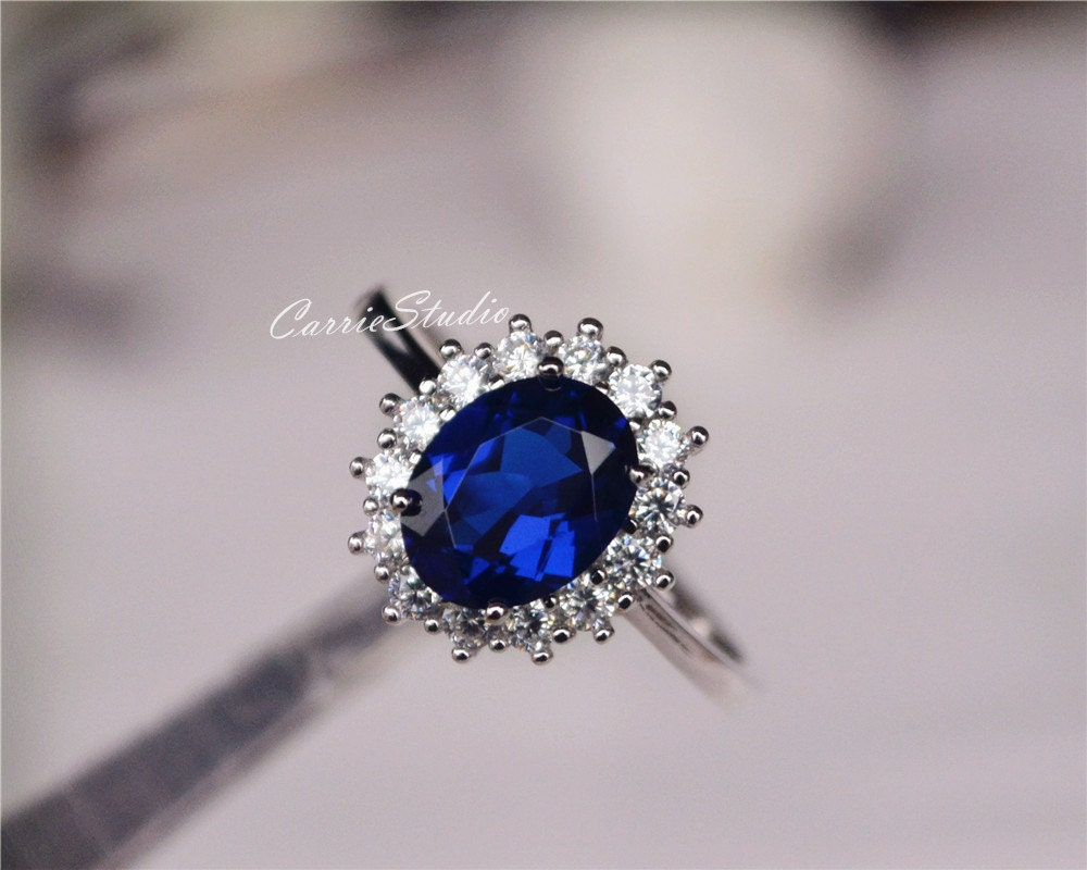 Royal Style Oval Sapphire Ring Lab Sapphire Engagement Ring