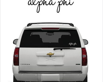 Alpha Phi // A Phi // Sorority Vinyl Car Window Decal (cursive)  // Laptop Decal // Greek Letters Sticker Decal